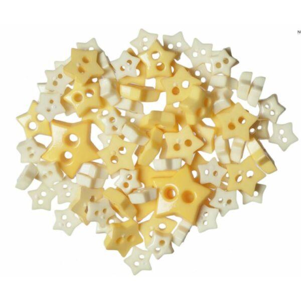 Csillag formájú mini gombok - sárga