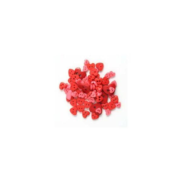 Szív formájú mini gombok - piros