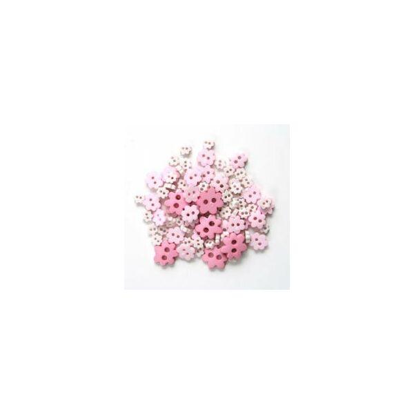 Virág formájú mini gombok - rózsaszín