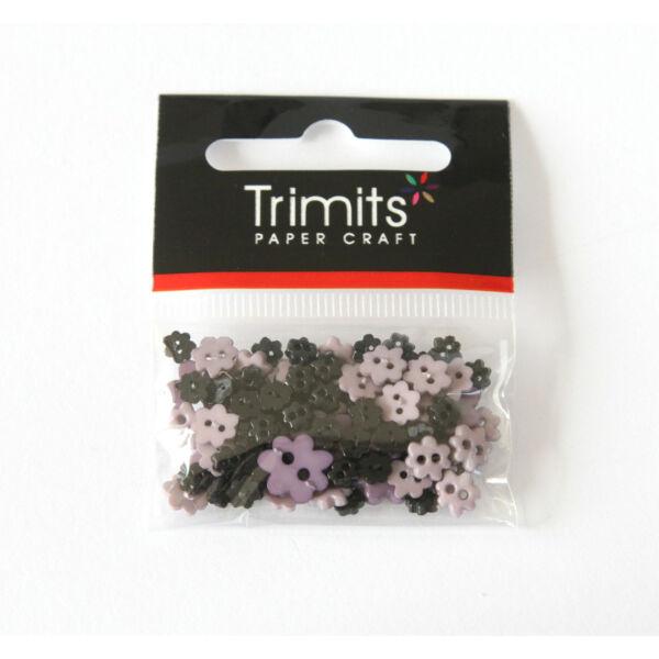 Virág formájú mini gombok - mályva