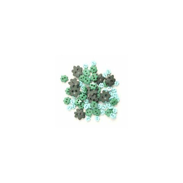 Virág formájú mini gombok - zöld