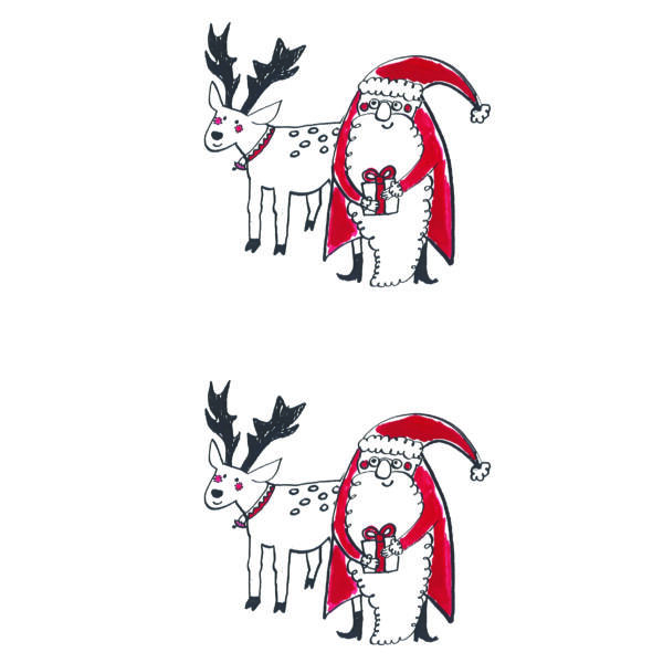 Karácsonyi mintás vászon panel - kis mikulás és rénszarvas