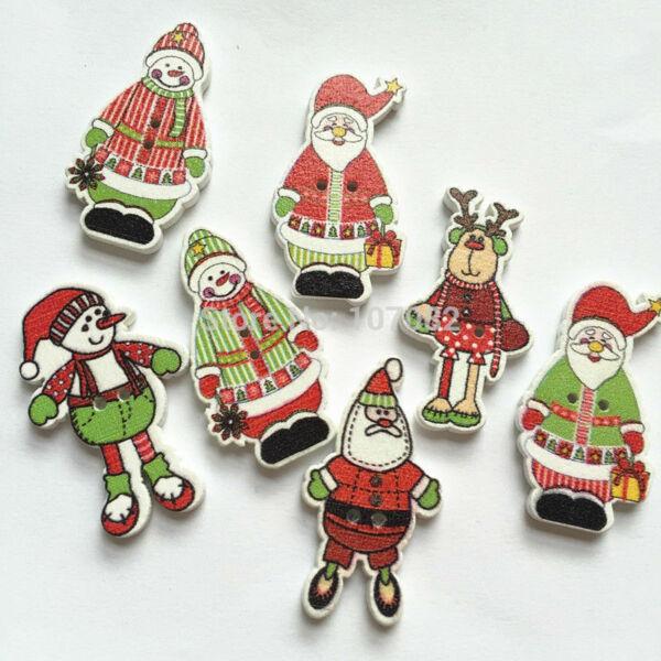 Álló karácsonyi figurák fa formagomb csomag - 35mm - 10db