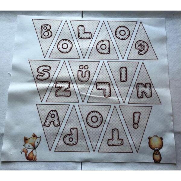 II. oszt. Mintás barkácsfilc - Woodland Animals - boldog szülinapot banner