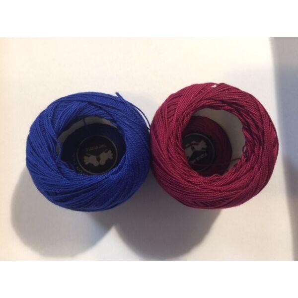 Mercezett pamut hímzőfonal horgoló fonal - 2*20gr - vegyes kék burgundi