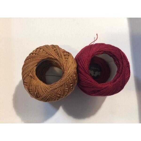 Mercezett pamut hímzőfonal horgoló fonal - 2*20gr - vegyes barna burgundi