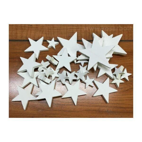 Fehér fa csillagok vegyes méret - 10db