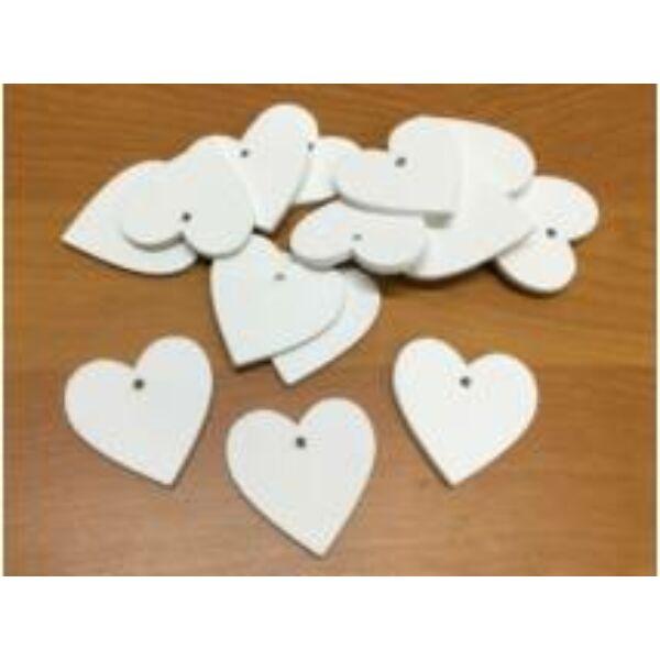 Fehér fa szívek 4cm - 5db