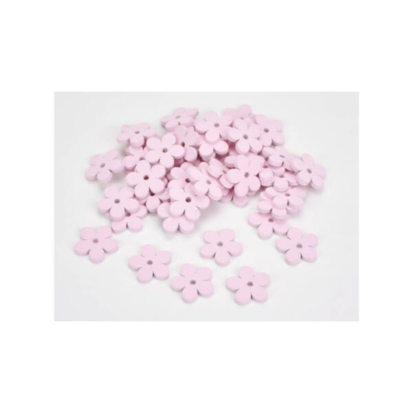 Rózsaszín fa virág dekorációk - 2,5cm - 10db