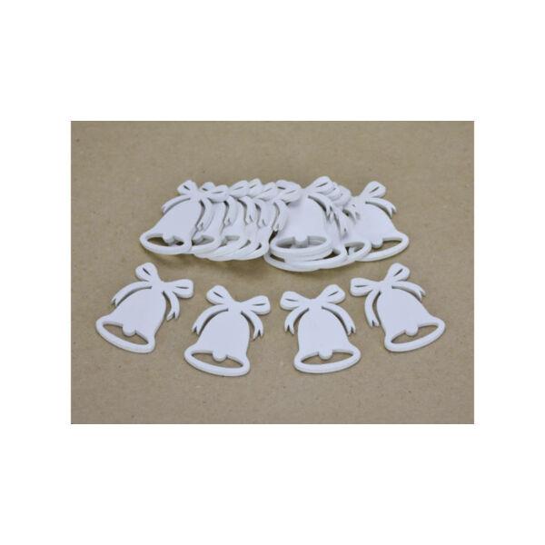Fehér fa masnis harang 5cm - 5db