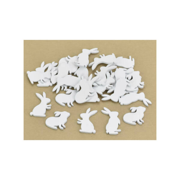 Fehér fa nyuszik - 4cm - 10db