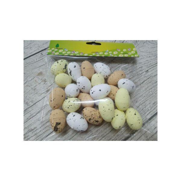 Színes polisztirol tojás - természetes színek - 2x3cm - 24db