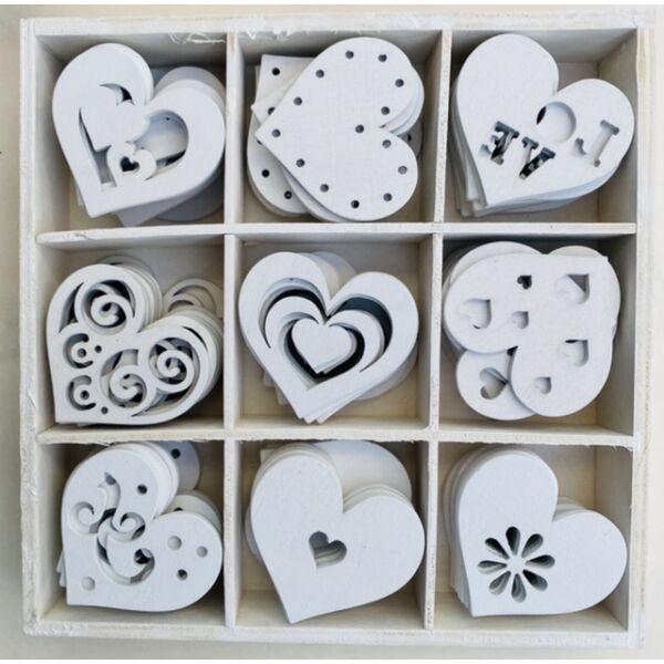 Fehér fa vegyes dekorációs csomag - 9db - szívek