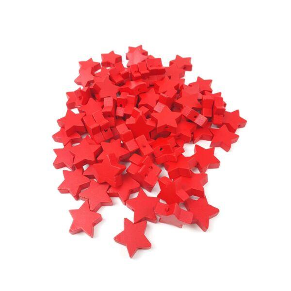 Fűzhető fa csillagok - piros - 20db