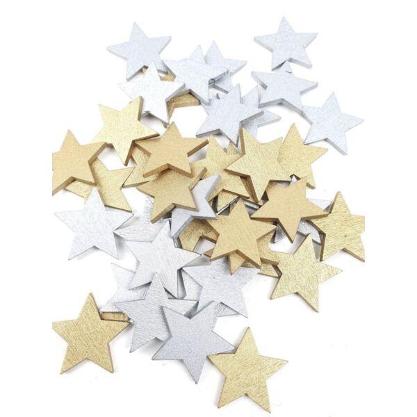 Arany ezüst fa dekor - csillag - 10db