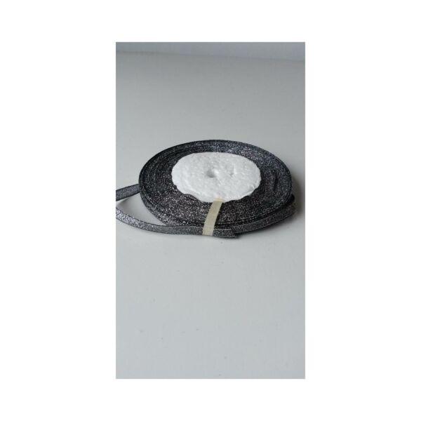 Csillámos szalag - 6mm - 22m - fekete ezüst