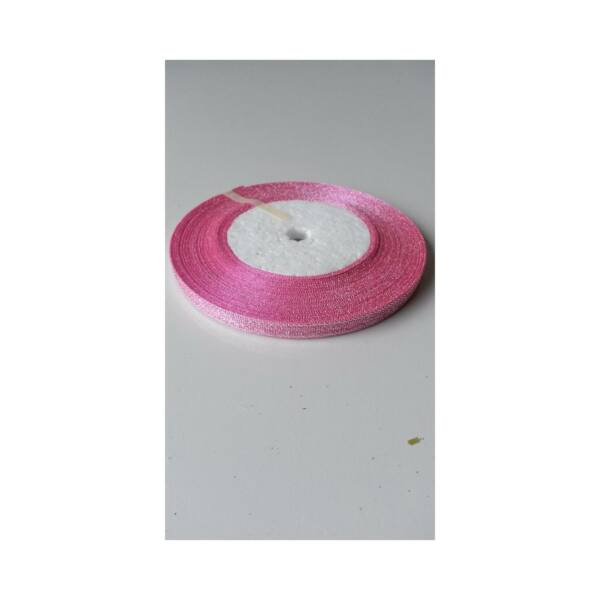 Csillámos szalag - 6mm - 22m - rózsaszín
