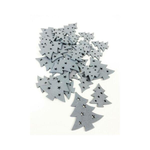 Szürke fa dekor - fenyőfa - 10db
