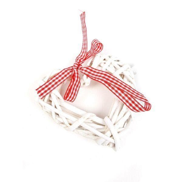 Fehér rattan szív masnival - 10cm