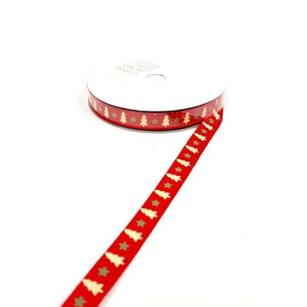Karácsonyi ripsz grosgrain szalag - piros alapon fenyő mintás