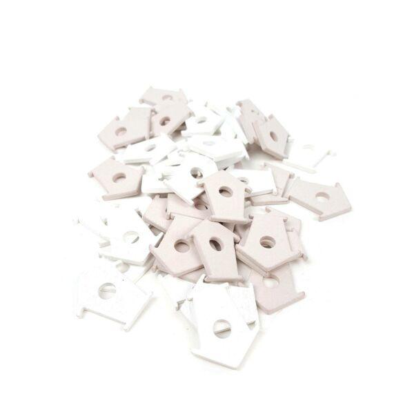 Madáretető formájú fa dekoráció csomag - bézs + fehér - 10db