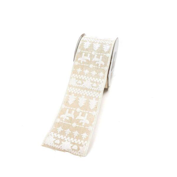Karácsonyi textil szalag 5,5cm - natúr