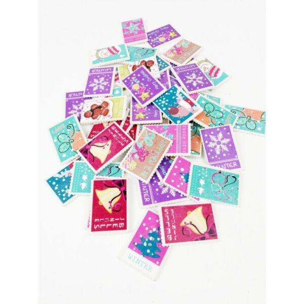 Karácsonyi bélyegek fa formagomb csomag  - 10db