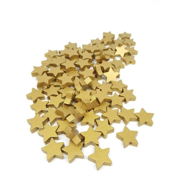 Fűzhető fa csillagok - arany - 20db