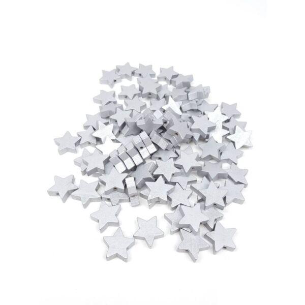 Fűzhető fa csillagok - ezüst - 20db