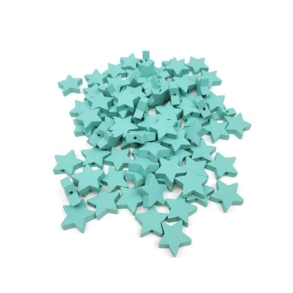 Fűzhető fa csillagok - menta - 20db