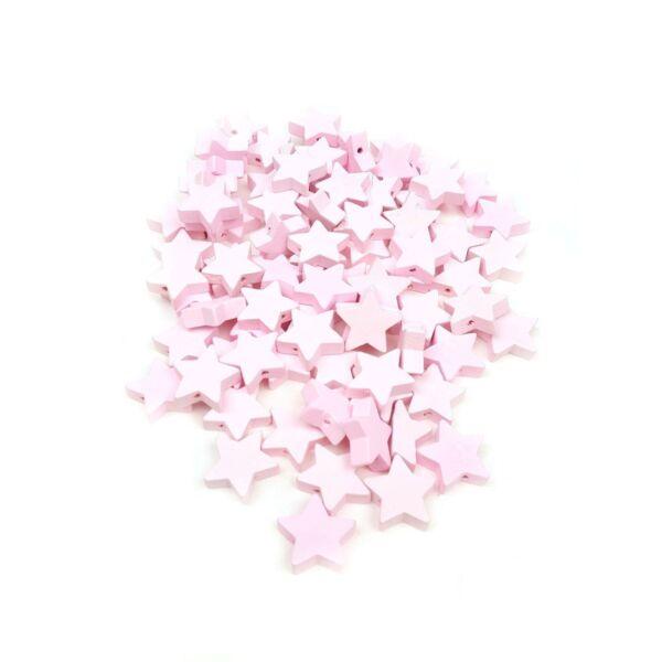 Fűzhető fa csillagok - rózsaszín - 20db