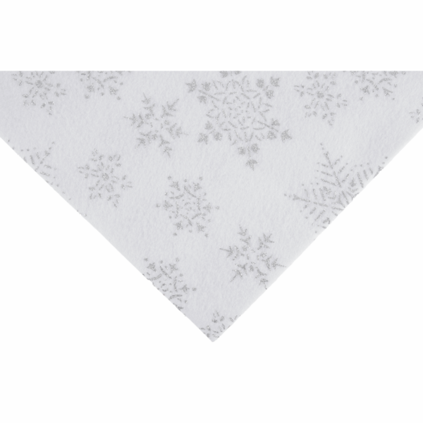Csillogó hópihe mintás barkácsfilc - fehér