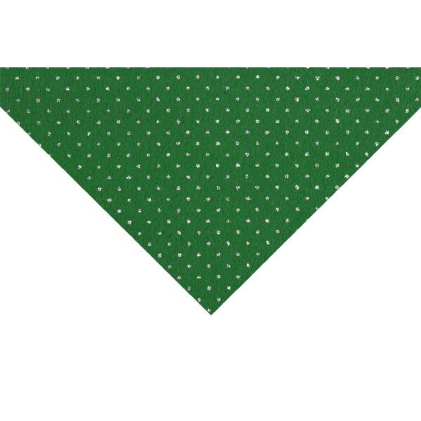 Csillámos barkácsfilc méteráru - zöld alapon pöttyös