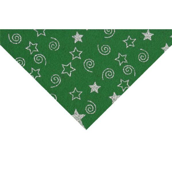 Csillámos barkácsfilc méteráru - zöld alapon csillagok csigák