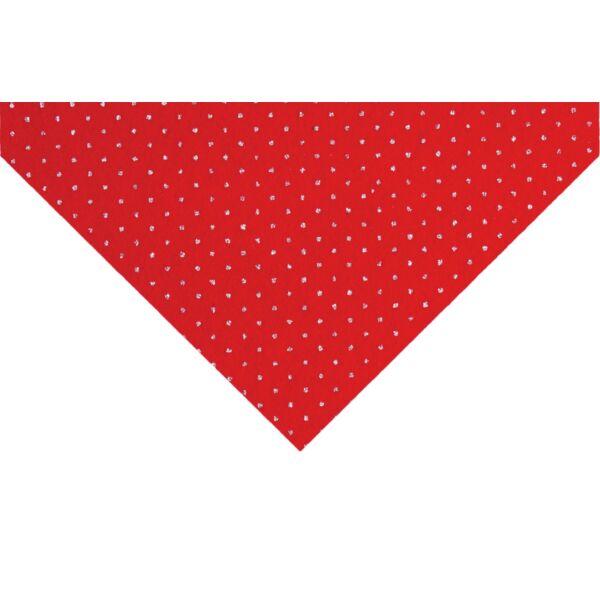 Csillámos barkácsfilc méteráru - piros alapon pöttyös