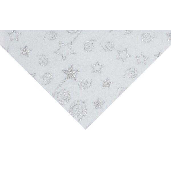 Csillámos barkácsfilc méteráru - fehér alapon csillagok csigák