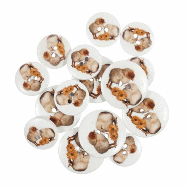 Állat mintás fa gombcsomag - csibék