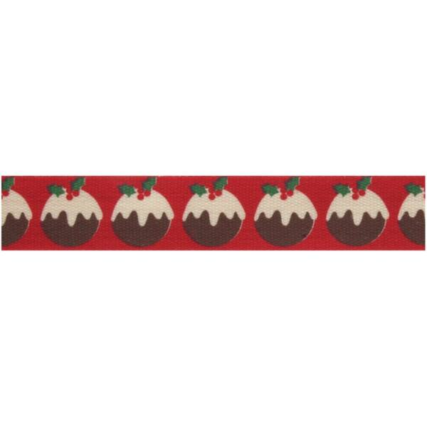100% pamut szalag csomag - Christmas Pud Red