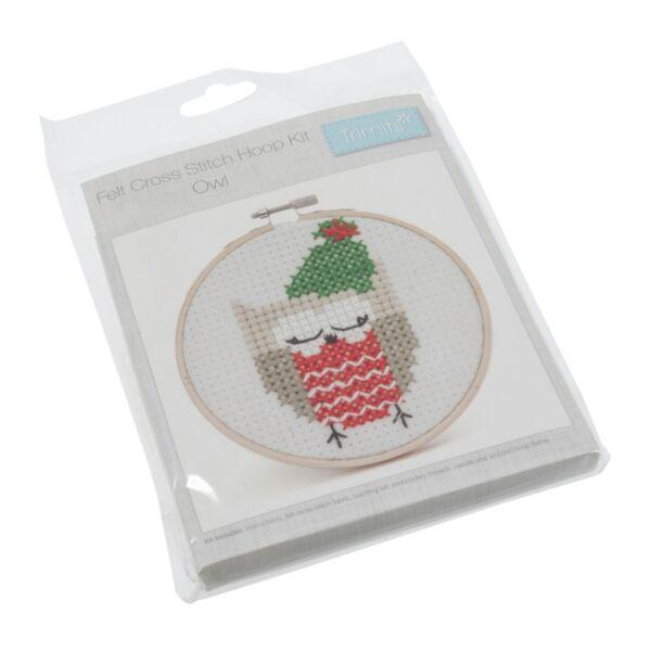 Csináld magad! keresztszemes karácsonyi készlet kerettel - Owl
