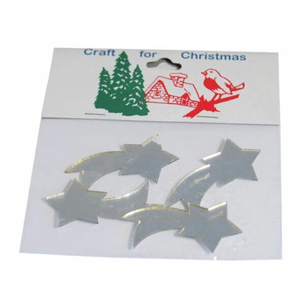 Tükrös műanyag karácsonyi dekorációs csomag - ezüst hullócsillag