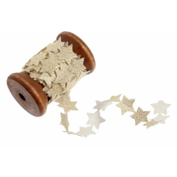 Csillag formájú szalag fa orsón - 2m - arany