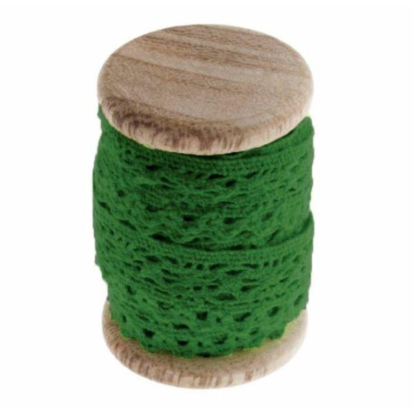 Zöld pamut csipke fa orsón - 3m