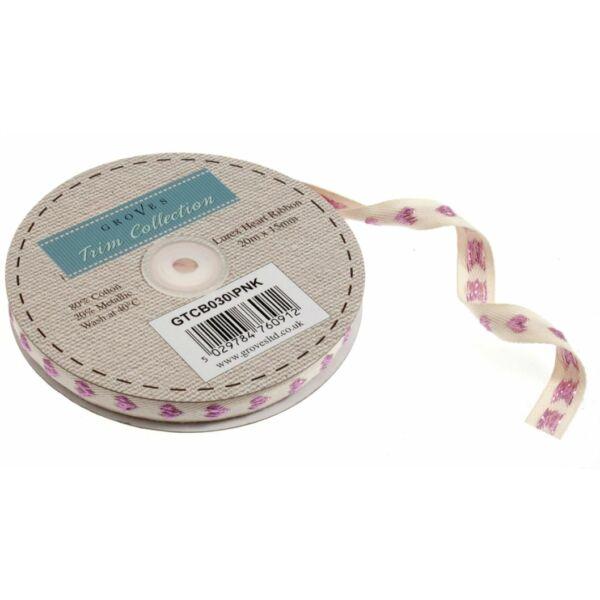 Csillogó szív mintás pamut szalag csomag - Pink