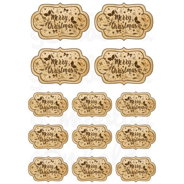 Mintás barkácsfilc - Merry Christmas vintage etikettek