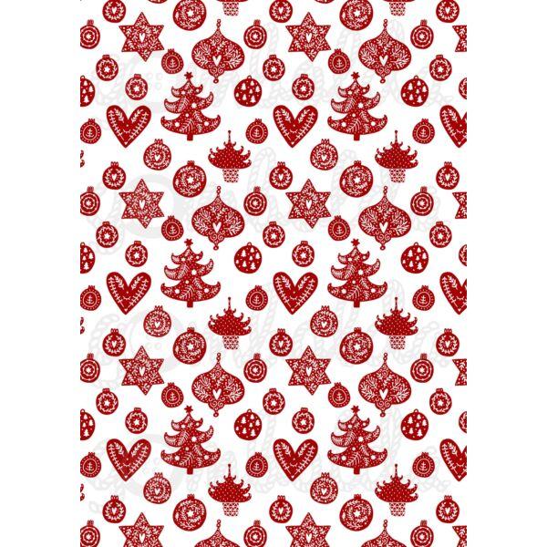 Mintás barkácsfilc - Scandi Christmas piros - vegyes fás díszes