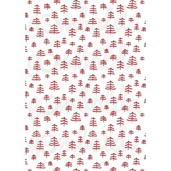 Mintás barkácsfilc - Scandi Christmas piros - pálcika fák